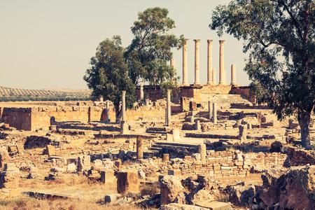 tunisia: Roman ruins Sanctuaire Esculape Thuburbo Majus Tunisia Stock Photo
