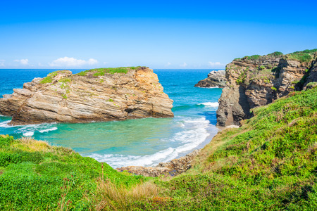 Famous Spanish destination, Cathedrals beach (playa de las catedrales) on Atlantic ocean 版權商用圖片