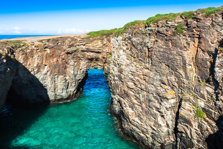 Famous Spanish destination, Cathedrals beach (playa de las catedrales) on Atlantic ocean Stock Photo