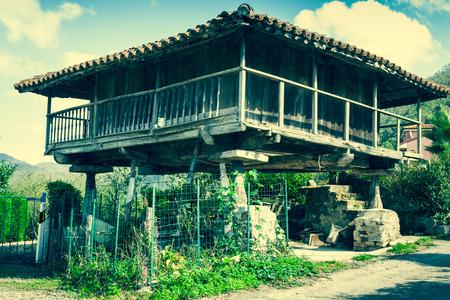 Pravia, old wooden building used as barn. Asturias, Spain photo
