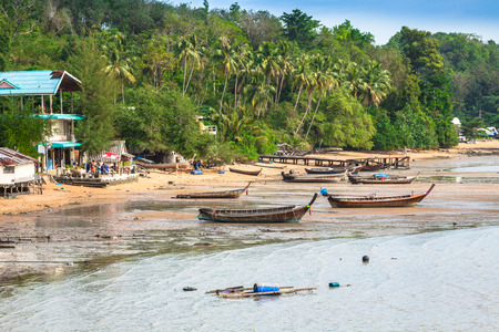 Traditional thai boats in  Phang nga,Phuket, Thailand photo