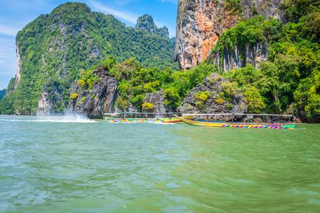 Phuket,Thailand,December 7,2013:Phang Nga Bay trip on long tail boat in Thailand
