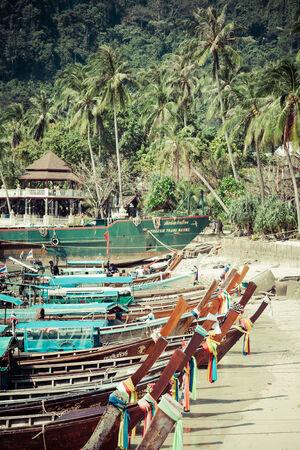 Ko Phi Phi,Thailand,December 8,2013:Traditional Thai longtail boat