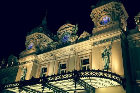 Monaco, Italy,August 10, 2013: Casino in Monaco. Night landscape. Monte Carlo.
