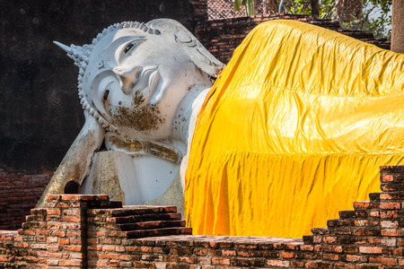 Reclining Buddha in Ayutthaya historical park, Thailand photo
