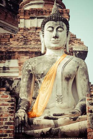 Buddha Statue Wat Yai Chaimongkol Ayutthaya Bangkok Thailand