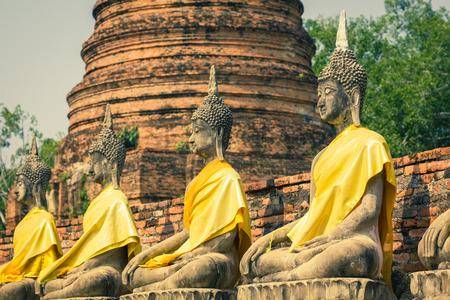 angkor wat: Old Temple Wat Yai Chai Mongkhon of Ayuthaya Province Thailand Editorial