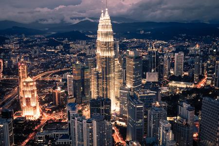 kuala lumpur city: Kuala Lumpur,Malaysia,December 19,2013:KL Petronas Towers at night Editorial