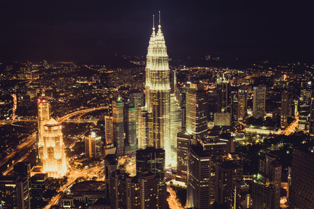 klcc: Kuala Lumpur,Malaysia,December 19,2013:KL Petronas Towers at night Editorial