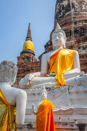 transcendental: Ancient Buddha statue at Wat Yai Chaimongkol in the historical city, Ayutthaya, Thailand