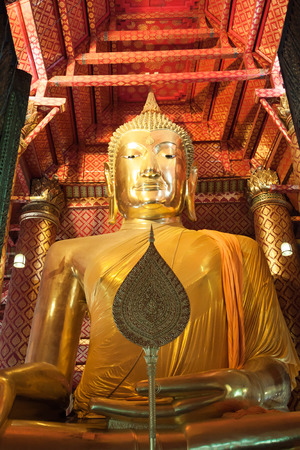 The main Buddha image, Wat Phanan Choeng in Ayutthaya. photo