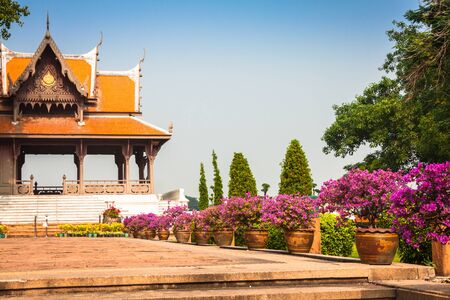 Typical buddhist monastery roof, Thailand photo