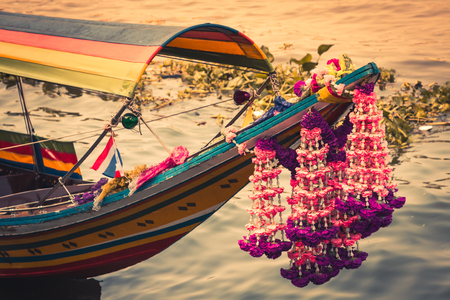 Boat on Chao Phraya river ,Bangkok,Thailand photo