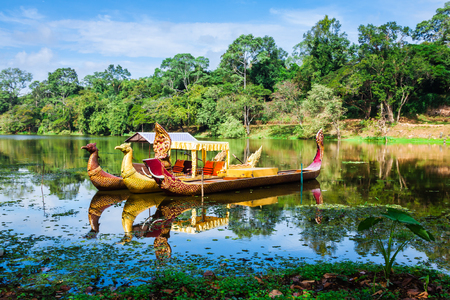 angkor wat: Thai traditional  boats on the lake near,Bayon temple in Angkor Thom, Siemreap, Cambodia.