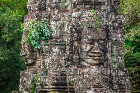 Stone murals and sculptures in Angkor wat, Cambodia photo