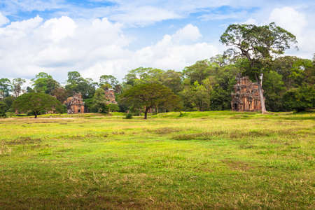 a righteous person: Angkor Thom gardens in front the Elephants Terrace within the Angkor Temples, Cambodia Stock Photo