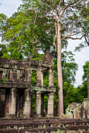 Ruins of Pra Khan Temple in Angkor Thom of Cambodia photo