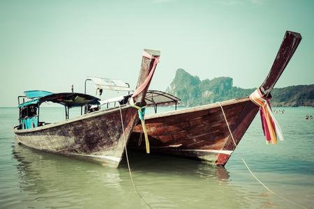 Long boat and tropical beach, Andaman Sea,Phi Phi Islands,Thailand photo