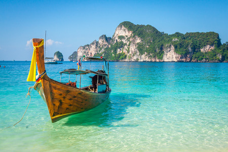 thailand view: Long boat and tropical beach, Andaman Sea,Phi Phi Islands,Thailand