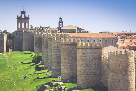 Avila. Detailed view of Avila walls, also known as murallas de avila. Ávila, Castilla y Leon, Spain
