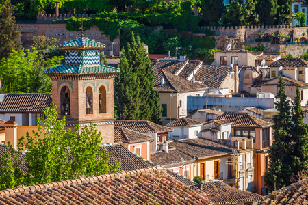 the  alhambra: Spain, Andalusia Region, Granada town panorama from Alhambra viewpoint Stock Photo