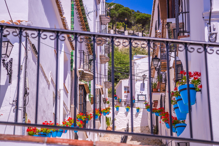 pueblo: Picturesque street of Mijas. Charming white village in Andalusia, Costa del Sol. Southern Spain