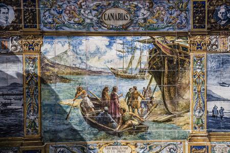 canarias: Plaza de Espana, Sevilla, Spain - famous old decorative ceramics alcove. Canarias theme.