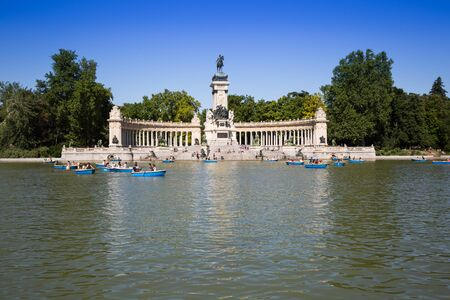 parque del buen retiro: Monument to Alfonso XII in the Parque del Buen Retiro Park of the Pleasant Retreat in Madrid, Spain