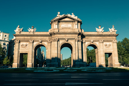 castellana: The famous Puerta de Alcala at Independence Square - Madrid Spain Editorial