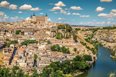 toledo town: Toledo, Spain old town cityscape at the Alcazar.