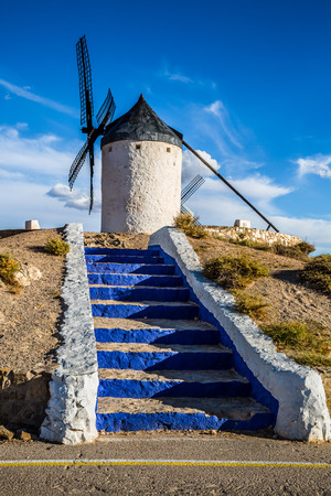 castilla: Famous windmills in Consuegra at sunset, province of Toledo, Castile-La Mancha, Spain