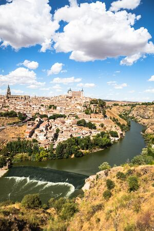 castilla: Toledo, Spain old town city skyline.