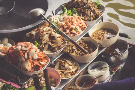 saduak: Food in Damnoen Saduak Floating Market near Bangkok, Thailand