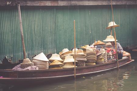 saduak: Damnoen Saduak Floating Market near Bangkok in Thailand Stock Photo