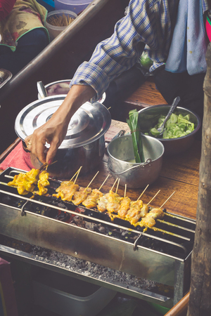 saduak: Food in Damnoen Saduak Floating Market near Bangkok, Thailand