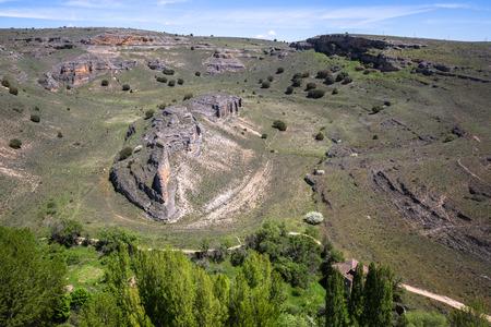 castille: Duraton canyon and Sepulveda. Segovia. Castilla Leon. Spain. Europe.