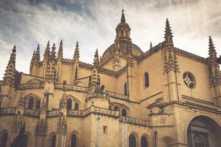 segovia: Segovia Cathedral is a Roman Catholic religious church in Segovia, Spain Stock Photo