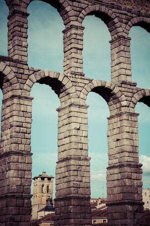 castilla leon: Roman aqueduct bridge of Segovia, Castilla Leon, Spain