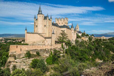 castilla y leon: Segovia, Spain. The famous Alcazar of Segovia, rising out on a rocky crag, built in 1120. Castilla y Leon.