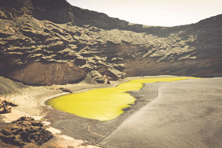 clowds: Green Lagoon at El Golfo, Lanzarote, Canary Islands, Spain.