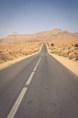 endless: Endless road in Sahara Desert with blue sky,Morocco Africa