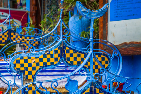 architectural  detail: Architectural detail in Chefchaouen, Morocco, Africa Stock Photo