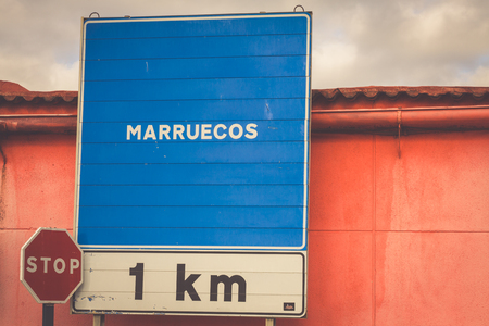 Road sign indicating the border of a Africa country: Morocco Stock Photo