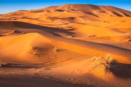int: Sand Dunes of Erg Chebbi int he Sahara Desert, Morocco Stock Photo