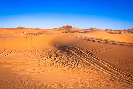 chebbi: The seas of dunes of Erg Chebbi near Merzouga in southeastern Morocco. Stock Photo