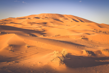 erg: The seas of dunes of Erg Chebbi near Merzouga in southeastern Morocco. Stock Photo
