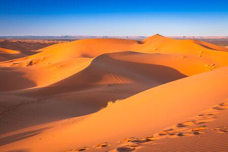 merzouga: Sand dunes in the Sahara Desert, Merzouga, Morocco Stock Photo