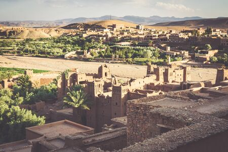 Ait Benhaddou is a fortified city, or ksar, along the former caravan route between the Sahara and Marrakech in Morocco. Stock Photo