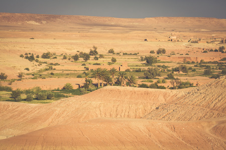 casbah: Moroccan desert with the view of mountain Atlas