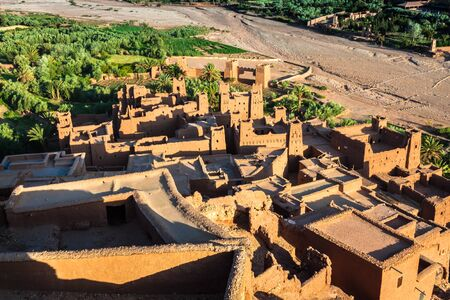 casbah: Ait Benhaddou is a fortified city, or ksar, along the former caravan route between the Sahara and Marrakech in Morocco. Stock Photo